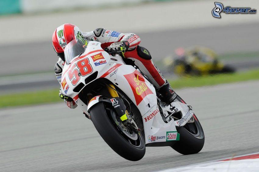 Honda, motocyklista, wyścigi, torowe, prędkość