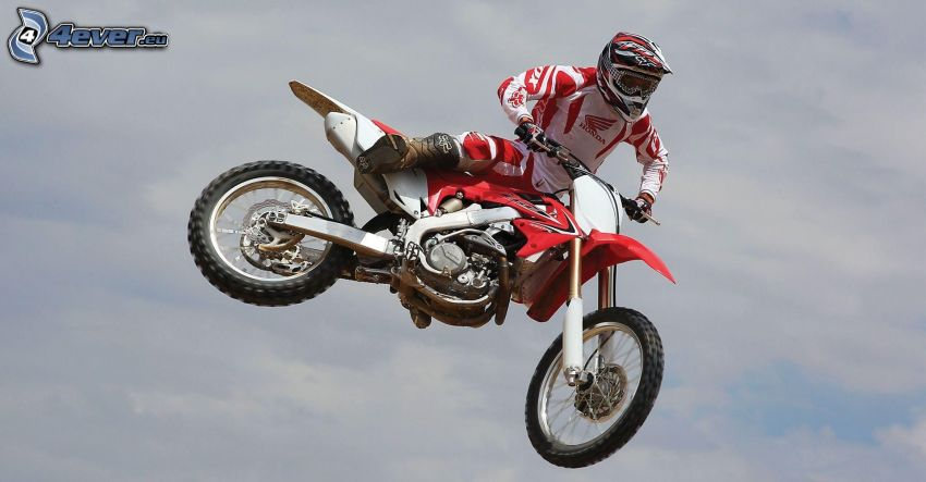 Honda, motocyklista, wyskok, akrobacje