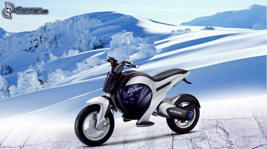 Honda, śnieżny krajobraz