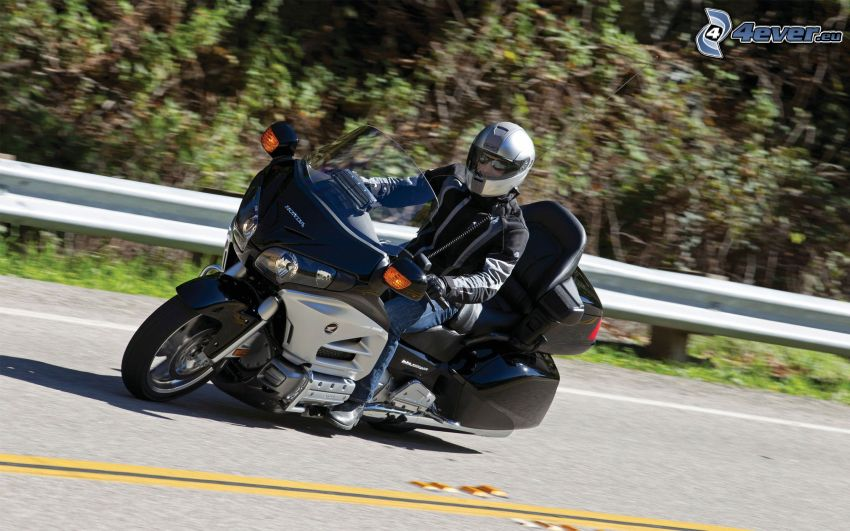 Honda Goldwing, motocyklista, prędkość, ulica