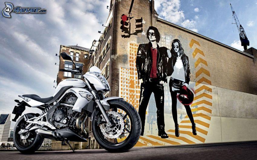 Kawasaki, mężczyzna i kobieta, postacie z kreskówek