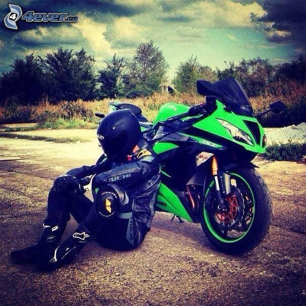 Kawasaki, motocykl, motocyklista