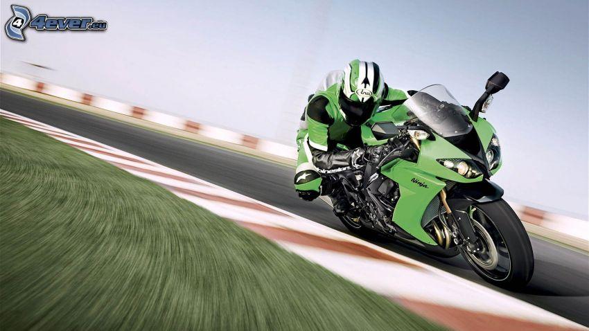 Kawasaki ZX 10R, motocyklista, prędkość, wyścigi, torowe, zakręt