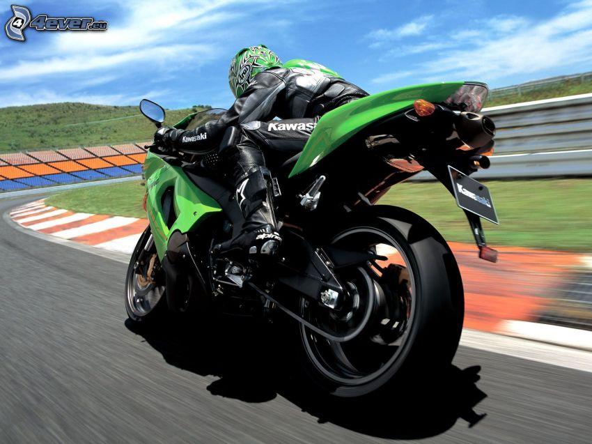Kawasaki ZX 10R, motocyklista, wyścigi, torowe, prędkość