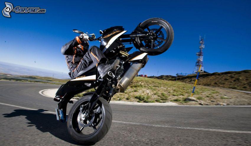 KTM, akrobacje, motocyklista, zakręt