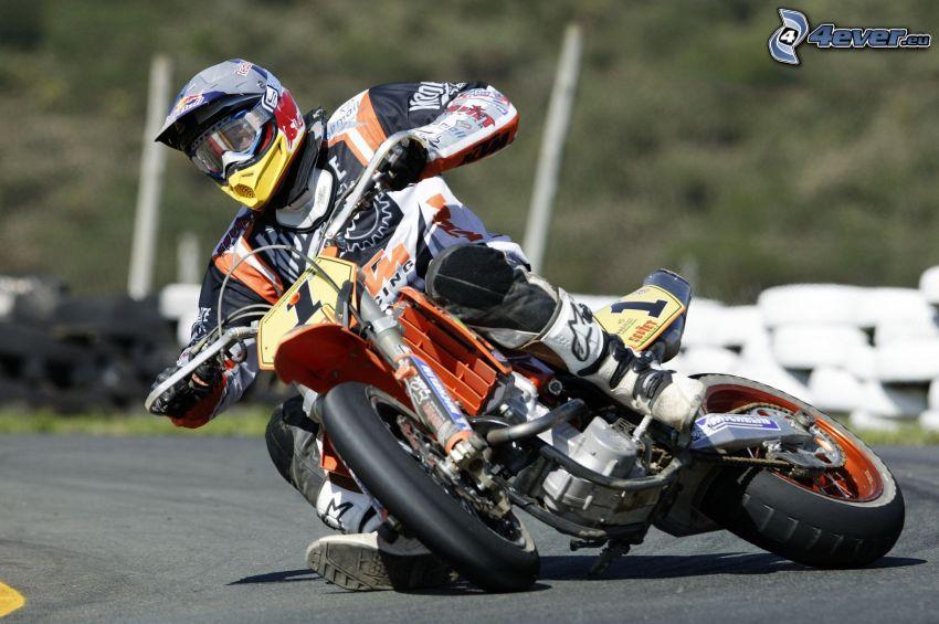 KTM, motocyklista, wyścigi, torowe, zakręt