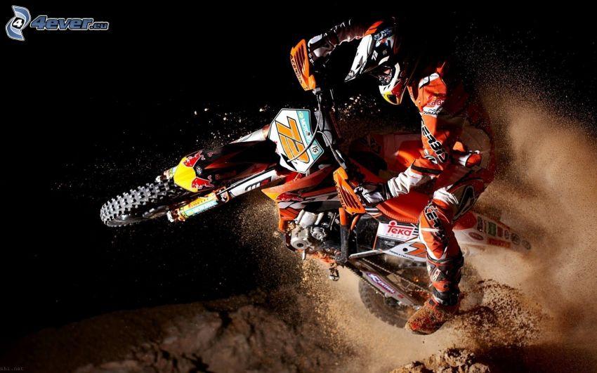 KTM RC8, motocyklista, skok, pył