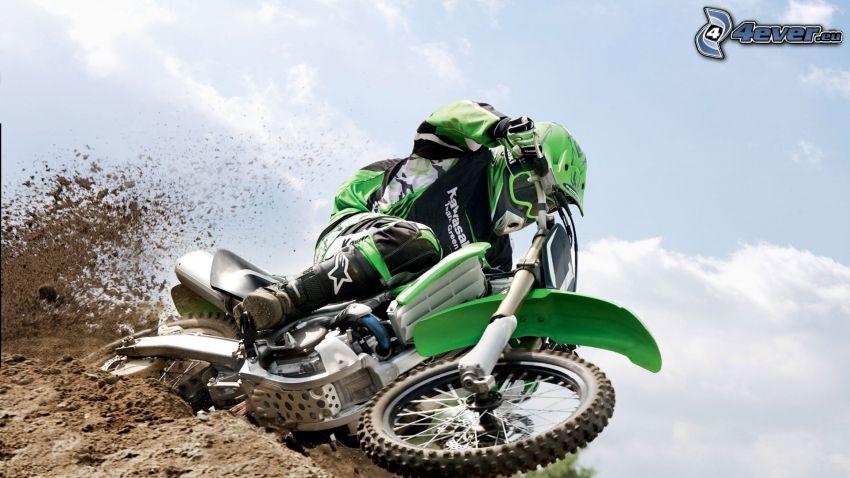 motocross, Kawasaki, motocyklista, ziemia