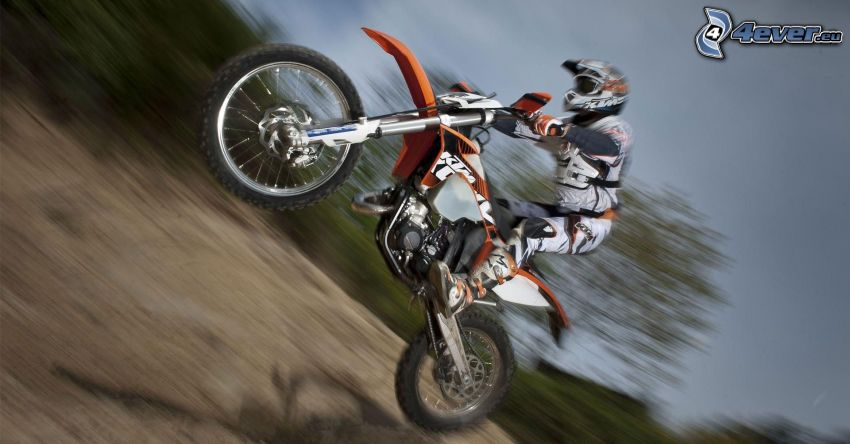 motocross, KTM, motocyklista, prędkość, akrobacje, skok na motocyklu
