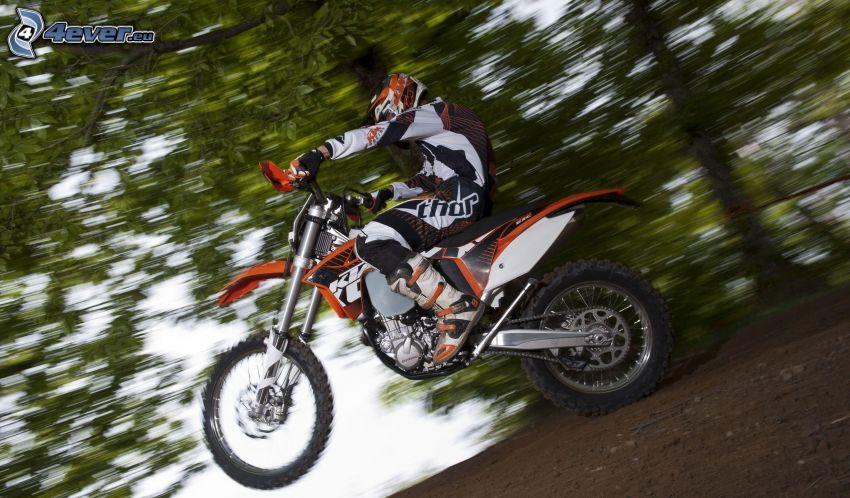 motocross, KTM 450 EXC, motocyklista, prędkość