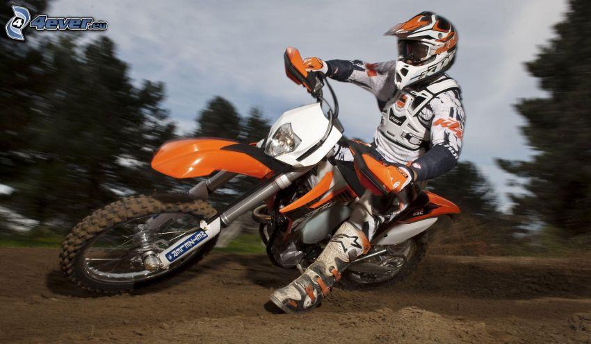 motocross, KTM 450 EXC, motocyklista, ziemia, prędkość