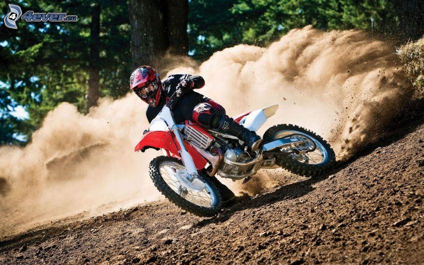 motocross, motocykl, motocyklista, pył, ziemia