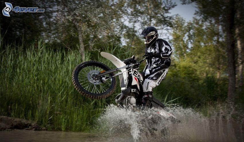 motocross, motocykl, motocyklista, woda, przyroda