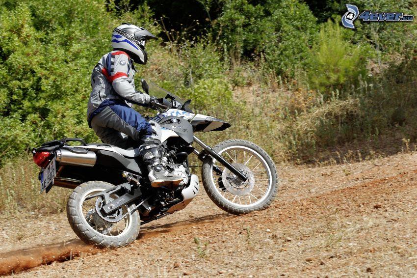 motocross, Motocykl BMW, motocyklista, przyroda