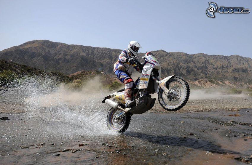 motocross, motocyklista, akrobacje, motocykl, woda, wzgórza
