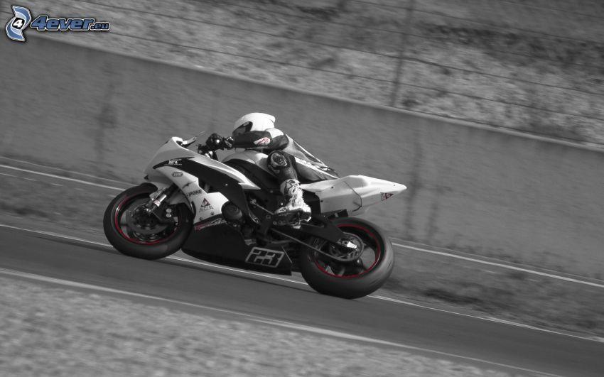 motocykl, motocyklista, prędkość, ulica