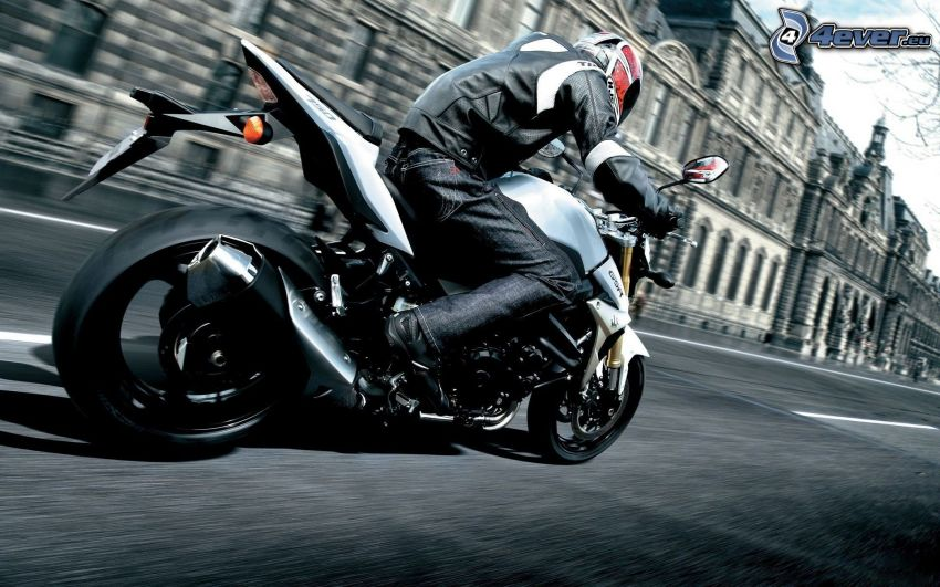 motocyklista, prędkość, Louvre
