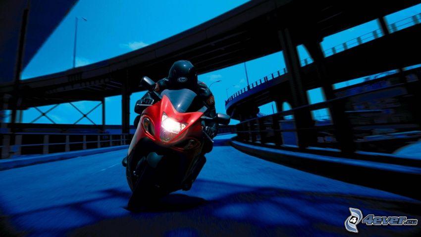 Suzuki Hayabusa, motocyklista, prędkość, most, skrzyżowanie autostrad