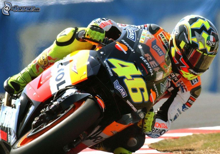 Valentino Rossi, motocyklista, motocykl, wyścigi, torowe