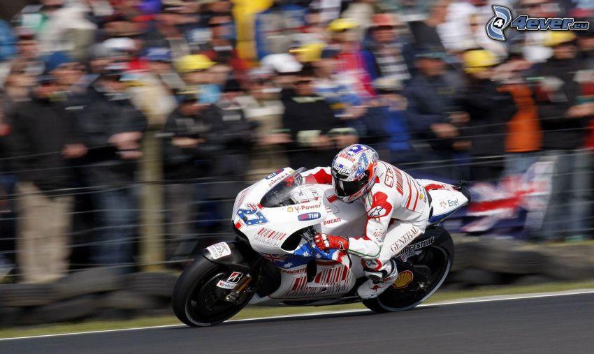 wyścigi, Ducati, motocyklista, prędkość, wyścigi, torowe, publiczność