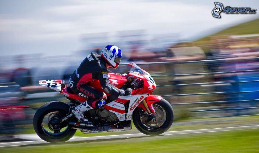 wyścigi, Honda, motocyklista, prędkość