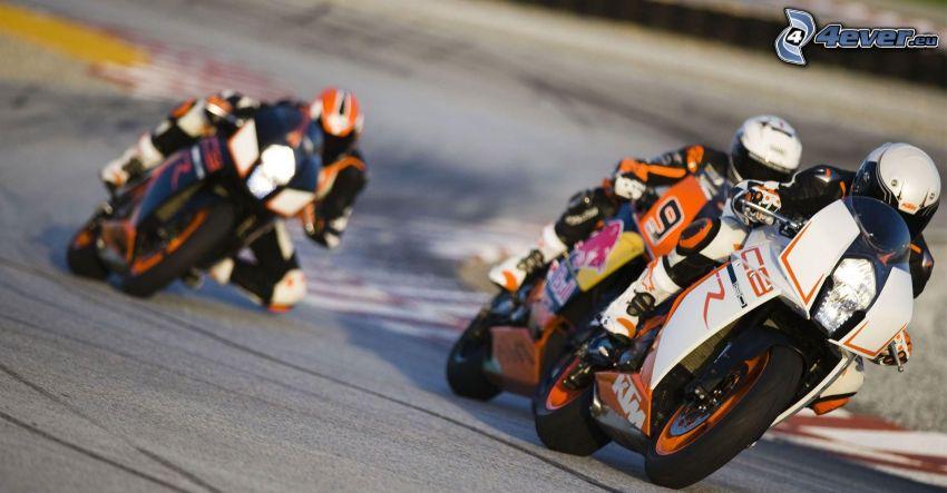 wyścigi, KTM RC8, motocyklista, prędkość, wyścigi, torowe