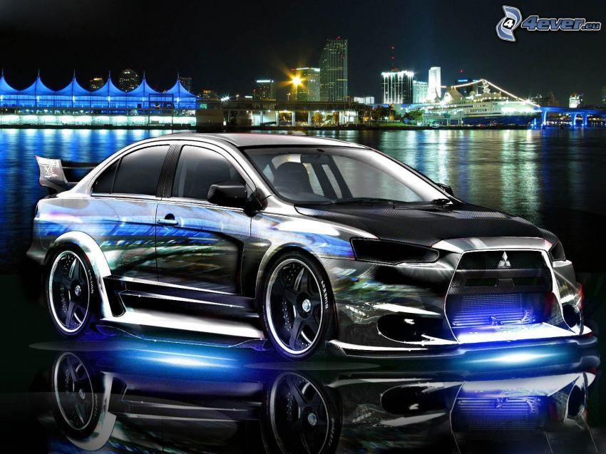Mitsubishi, neon, tuning, miasto nocą