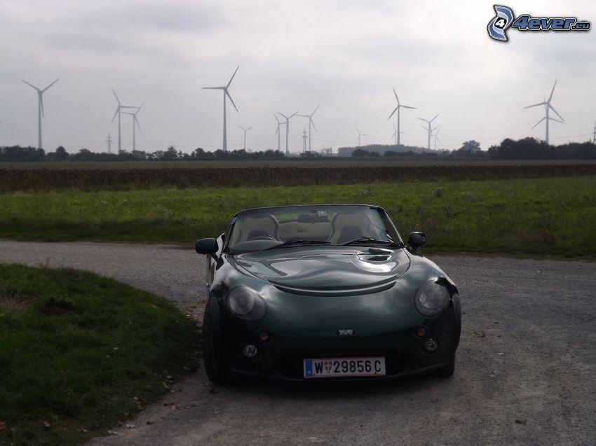 TVR Cerbera, kabriolet, zakręt, elektrownia wiatrowa