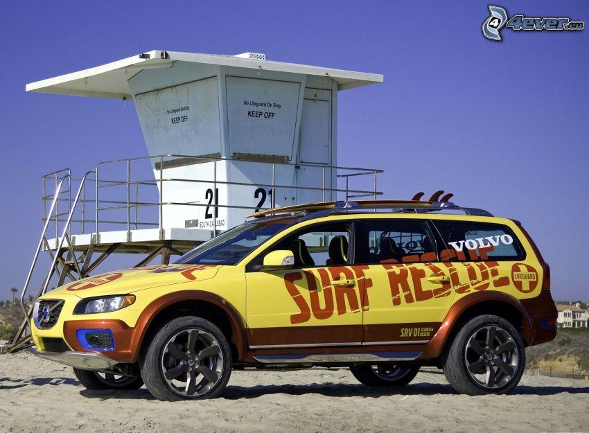 Volvo XC70, SUV, plaża piaszczysta