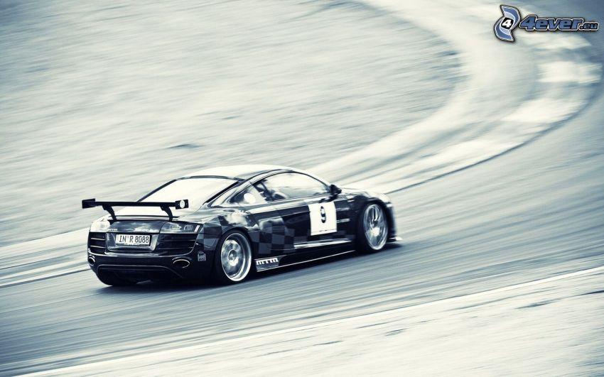 Audi R8, auta wyścigowe, prędkość, wyścigi, torowe, zakręt