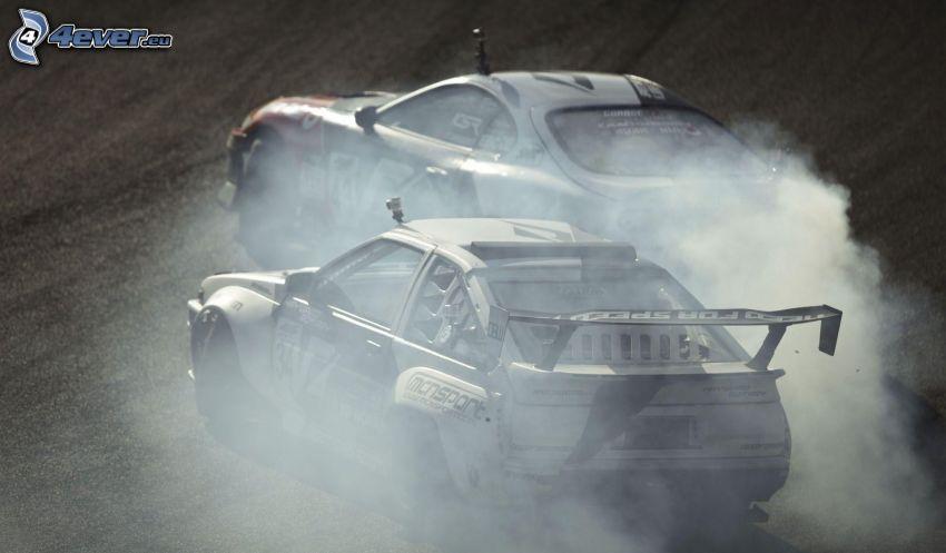 auta wyścigowe, dryfować, dym