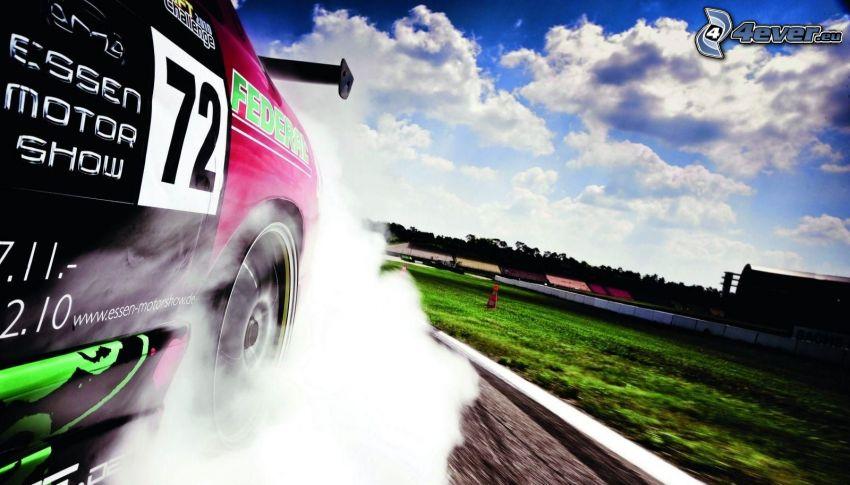 auta wyścigowe, dym, burnout