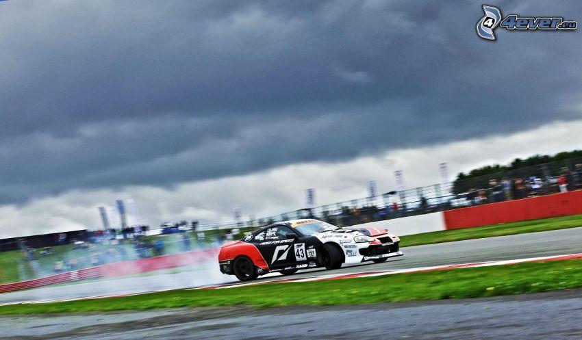 auta wyścigowe, wyścigi, torowe, dym, chmury