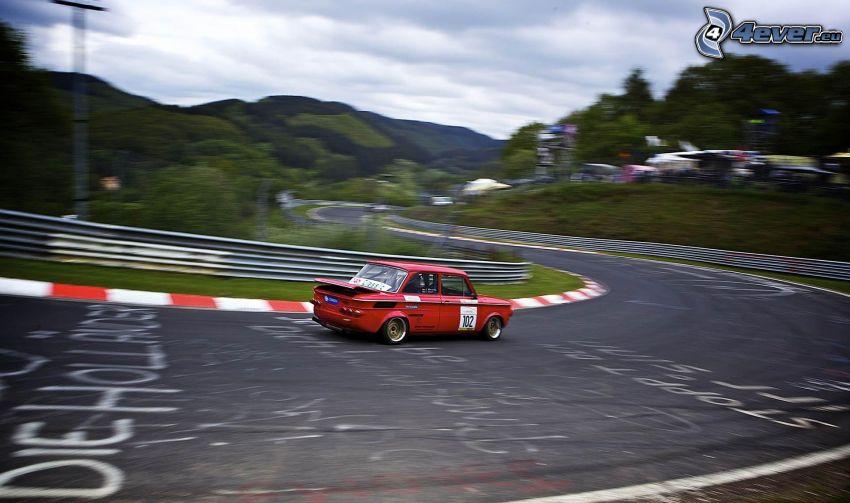 auta wyścigowe, wyścigi, torowe, prędkość, zakręt