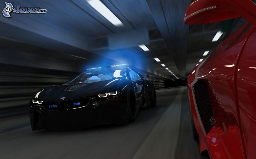 BMW, prędkość, tunel