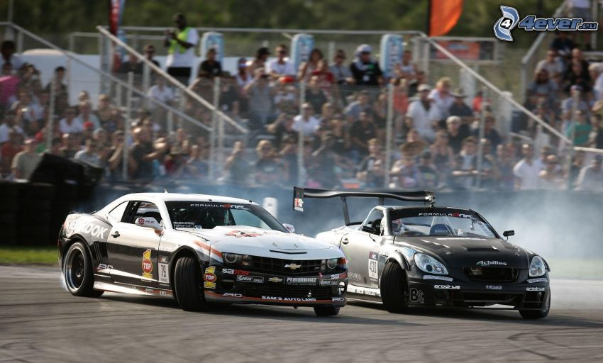 Chevrolet, auta wyścigowe, dryfować, dym, publiczność