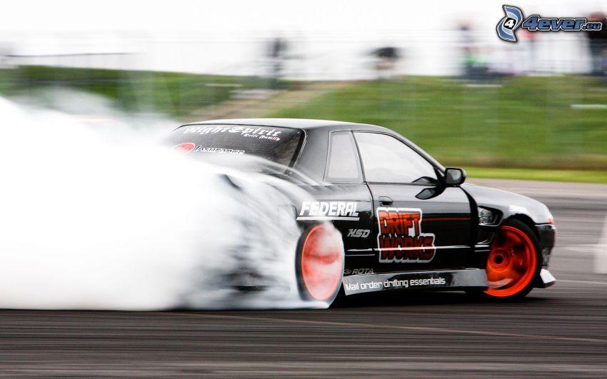 dryfować, wyścigi, dym