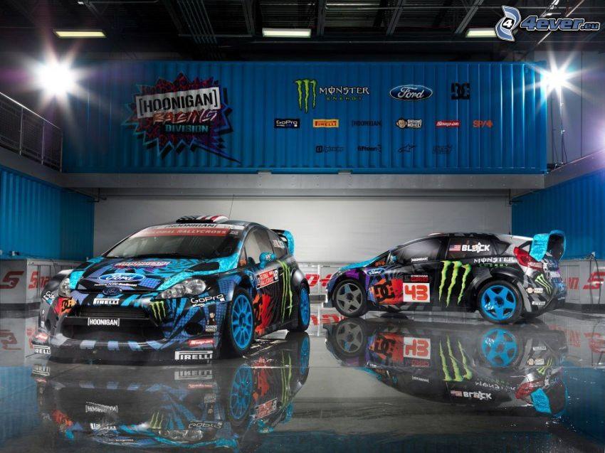 Ford, auta wyścigowe, hala, odbicie
