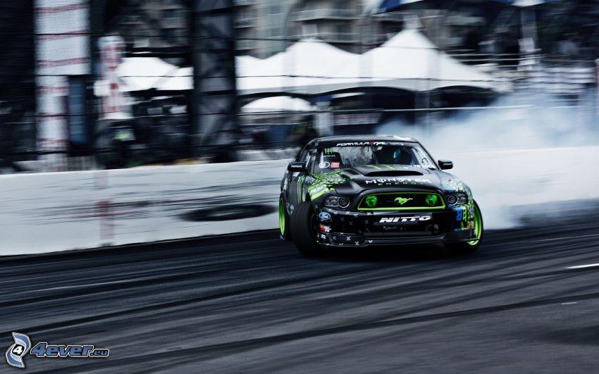 Ford Mustang, auta wyścigowe, prędkość, dryfować, dym, wyścigi, torowe