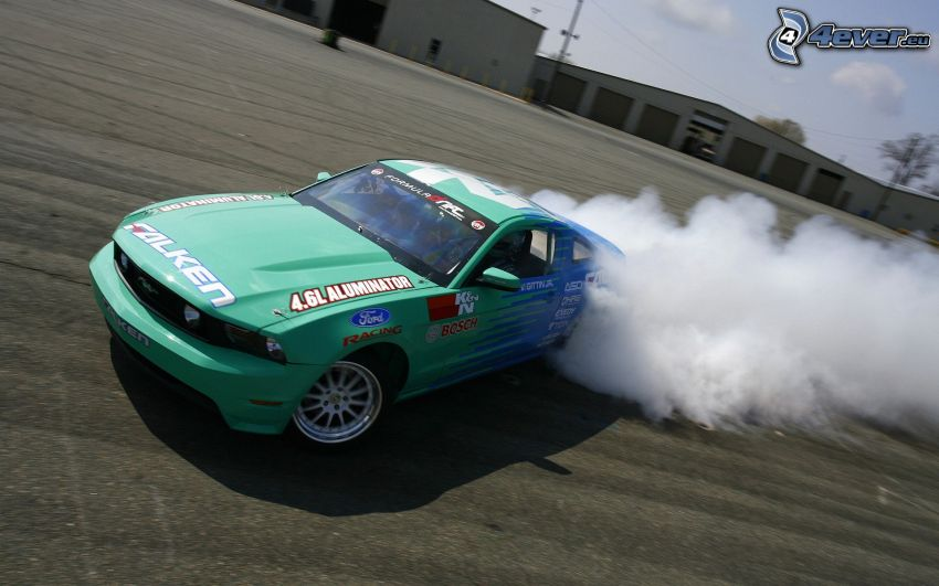 Ford Mustang RTR-X, dryfować, dym