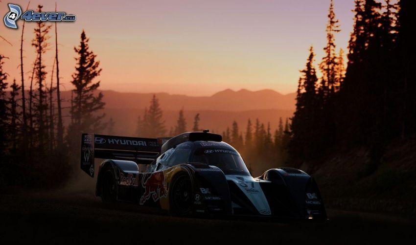 Hyundai, auta wyścigowe, drzewa, po zachodzie słońca