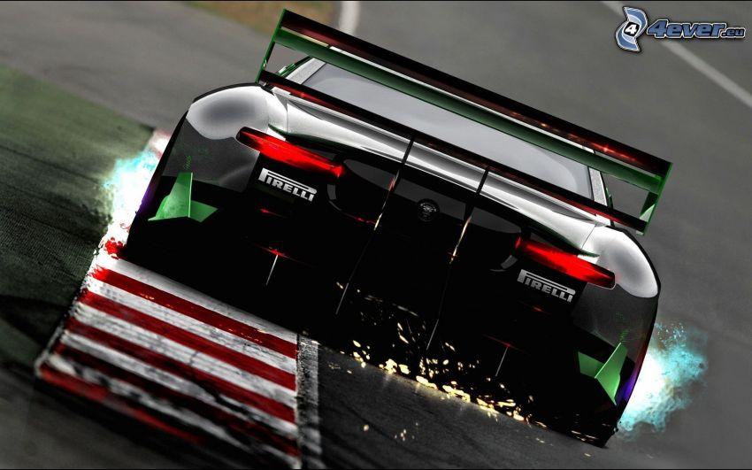 Jaguar, wyścigi, torowe, iskrzenie