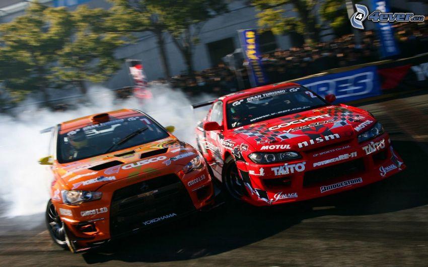 Mitsubishi, Nissan Nismo, auta wyścigowe, dryfować, dym