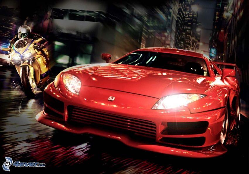 sportowe auto, motocykl, motocyklista, wyścigi, prędkość