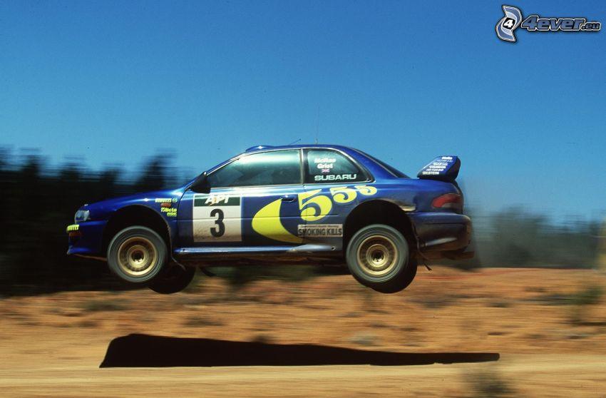 Subaru, skok, rajd