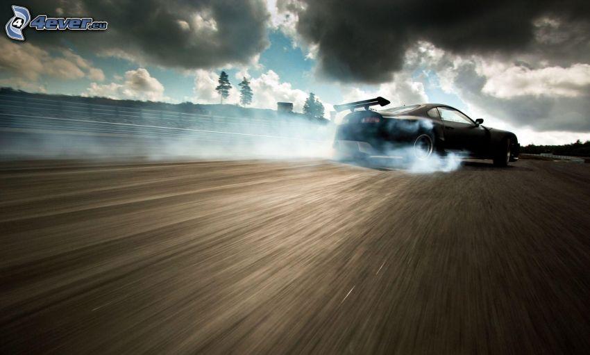 Toyota Supra, dryfować, prędkość, dym, chmury
