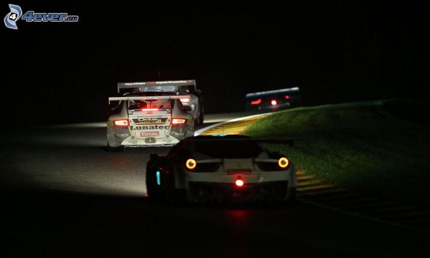 wyścigi, auta wyścigowe, noc