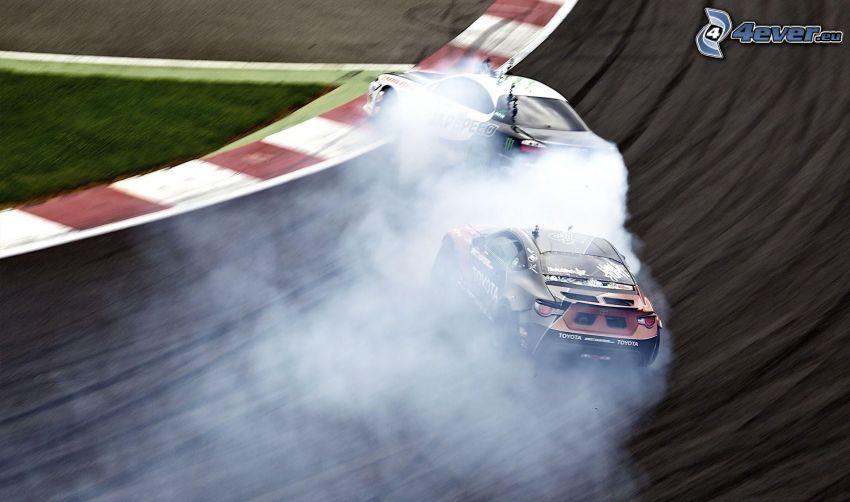 wyścigi, dryfować, dym