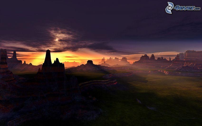 dolina, ciemny zachód słońca, ciemne niebo