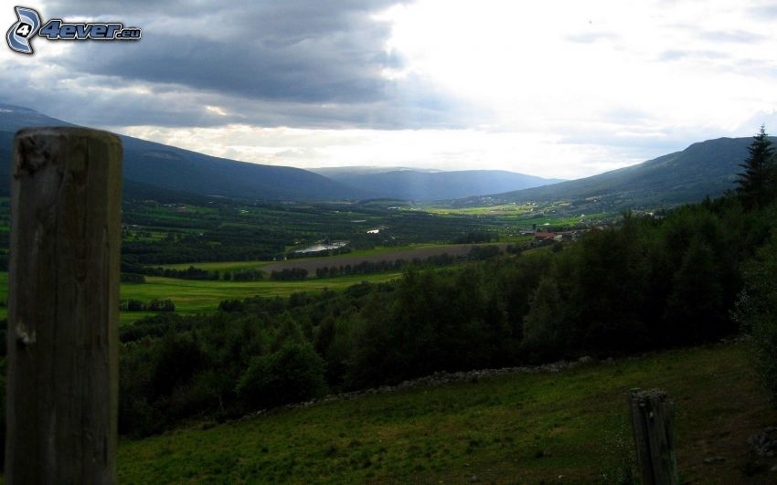 dolina, lasy i łąki, niebo